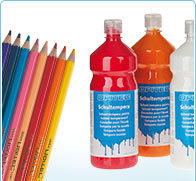 Own brand OPITEC - school paints and coloured pencils