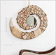 Specchio spirale in legno