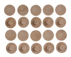Afdekkapjes, hout, onbehandeld, 20 stuks