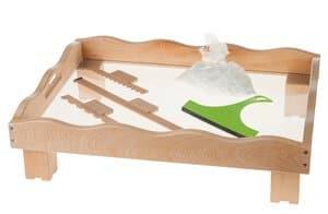 Zandbak op lage pootjes en accessoires