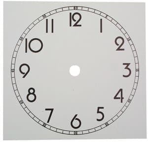 Esfera de reloj, ø 120 mm, (130 x 130 mm), cartón