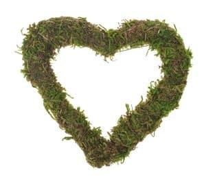 Hart van mos (100 x 90 x 10 mm) groen