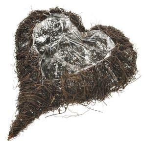 Corbeille coeur sarments pour plantes, 330 x 250mm