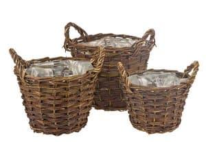 Corbeilles en osier, set de 3 pièces