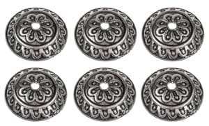 Perlkappen Metall, 6 Stück platinfarben (14 mm)