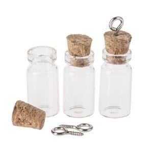 Pendentifs bouteilles en verre, 3 pièces