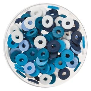 Mix perles disques Katsuki, 100 pièces bleu