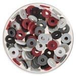 Mezcla de perlas Katsuki (6 mm) gris/rojo, 100 ud.