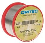 Elektronicasoldeer Sn60Pb38Cu2, 250 g spoel