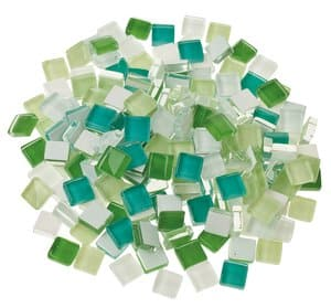 Mosaik Softglas, 200 g grün-mix (10 x 10 mm)