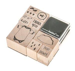 11 sellos de madera Baby Shower + 2 tampones