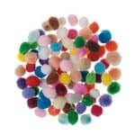 Pompons env. 5 mm, 100 pièces, divers coloris