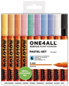 Molotow One4all Acrylmarker, 10 St. pastell (2 mm)