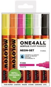 Molotow One4all Acrylmarker, 6 Stück neon (4 mm)