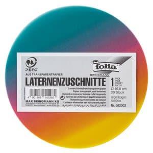 Lampion papier - rond (16,8 cm) regenboog 20 stuks