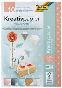 Kreativpapier, 10 Blatt Velours-Punkte (24x34 cm)