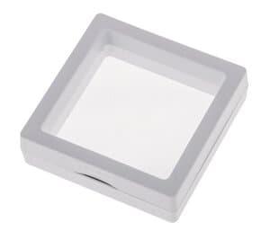 Boîte présentoir coulissante, blanc (7 x 7 cm)