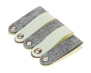 Filzanhänger, 10 Stück grau/beige (3 x 10 cm)