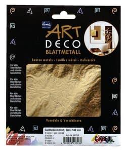 Art Deco bladmetaal (14 x 14 cm) goud, 6 vel