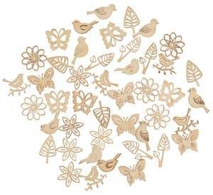 Houten strooidelen - Floral Filigran, 45 stuks