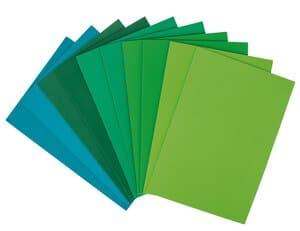 Moosgummi Set, 10 Platten grün (20 x 29 cm)