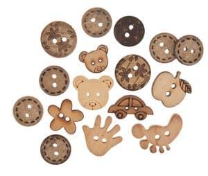 Bottoni in legno, assortiti, 16 pezzi