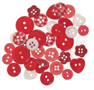 Knöpfe Mischpack, 40 Stück rot/weiß