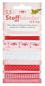 Rubans en tissu, Différent..., rouge-rose