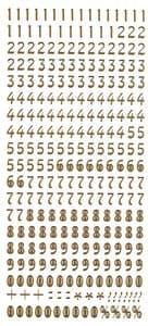 Stickervel - cijfers (100 x 230 mm) goud