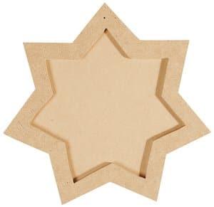 Holz Rahmen-Untersetzer, 2-tlg. Stern (19x19 cm)