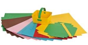 Knutselset papieren mandjes in 6 kleuren, 20 stuks