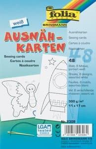Borduurkaarten, assorti, 48 vel wit (voorgestanst)