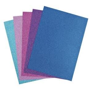 Glitterkarton, 5 Blatt ice (24 x 34 cm)