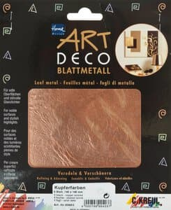 Art Deco bladmetaal,6 vel koper (14 x 14 cm)