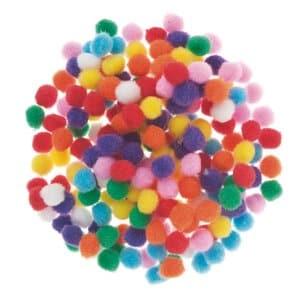 Pompons, 200 pièces divers coloris (10 mm)