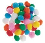 Pompones, ø 25 mm, colores surtidos, 50 ud.