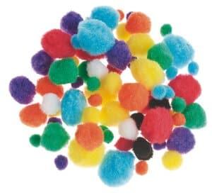 Pompons,  78 Stück farbig (10-25 mm)