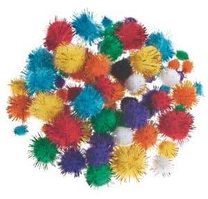 Glitter pompons (10-25 mm) kleurrijk, 78 stuks