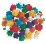Pompones, colores con destellos (10 - 25 mm) 78 ud