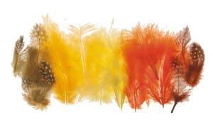 Marabou/parelhoen veren, 18 stuks geel/oranje mix