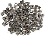 Mix de perlas de plástico, 40 g., plata vieja