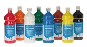 OPITEC Schulmalfarben, 8 Flaschen je 1000 ml