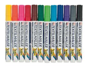 Textiel markers, kleurrijk, 12 stuks