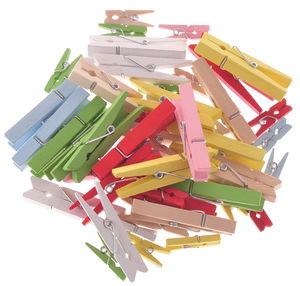Houten wasknijpers (25-47 mm) kleurrijk, 48 stuks