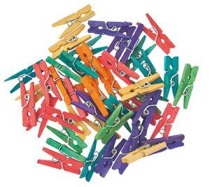Houten knijpers (25 mm) kleurrijk, 48 stuks