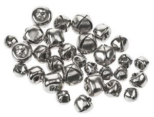 Messing belletjes (8/10/12 mm) zilver, 30 stuks