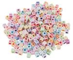 Alfabet kralen vierkant, bont/pastel, 300 stuks