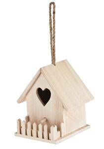 Vogelhaus Holz mit Zaun (ca. 16,5 x 16,5 x 14 cm)