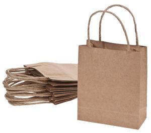 Papieren tassen (12 x 5,5 x 15cm) naturel 10 stuks