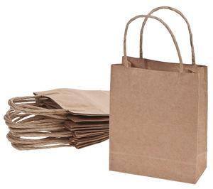 Papieren tassen (18 x 8 x 21 cm) naturel, 10 stuks